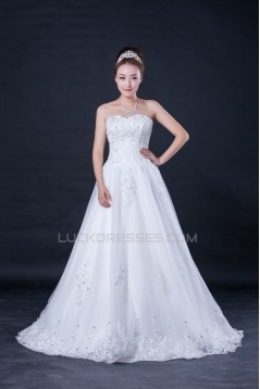 A-line Sweetheart Beaded Lace Bridal Wedding Dresses WD010415