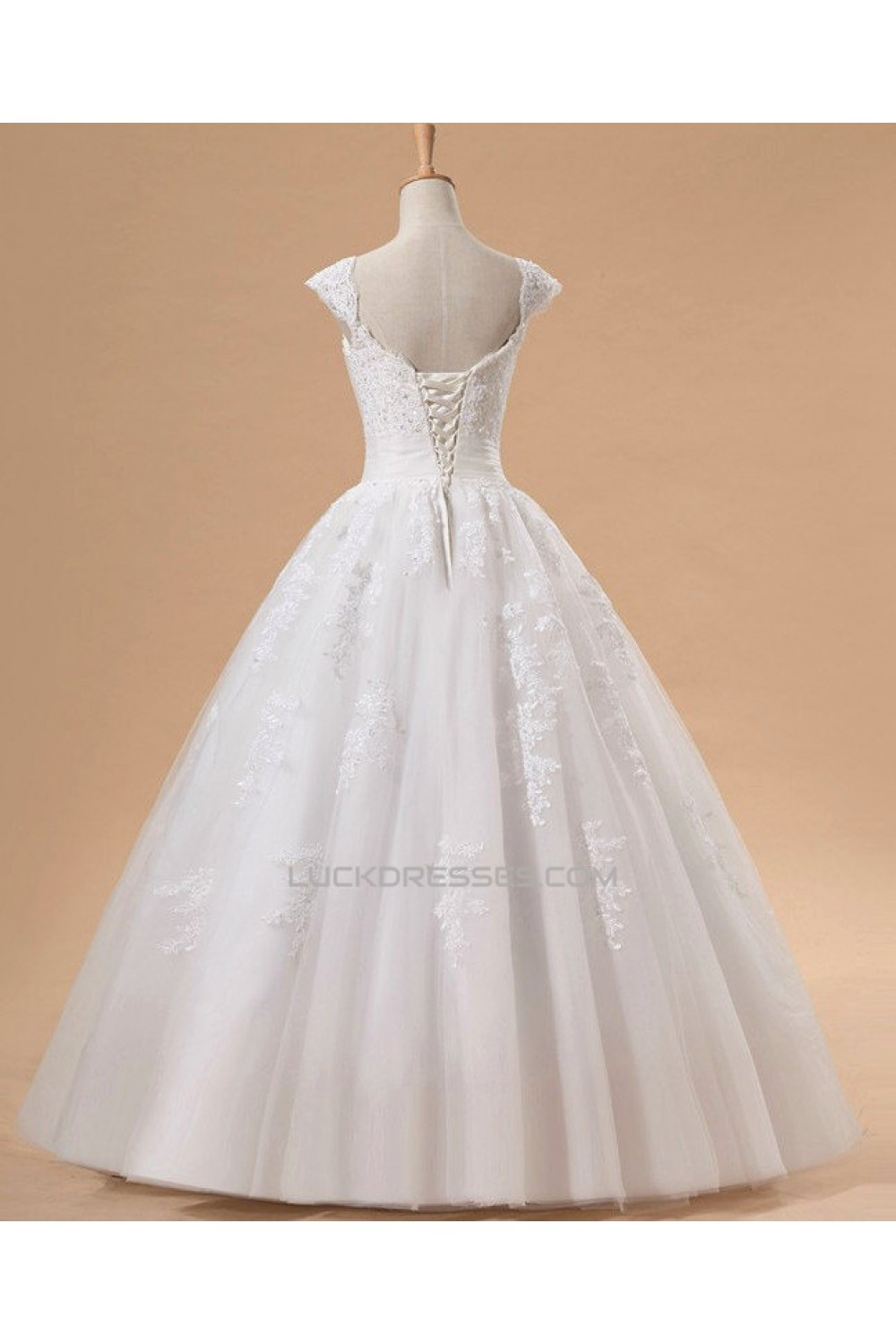 Ball Gown Cap Straps Beaded Lace Bridal Gown Wedding Dress WD010442