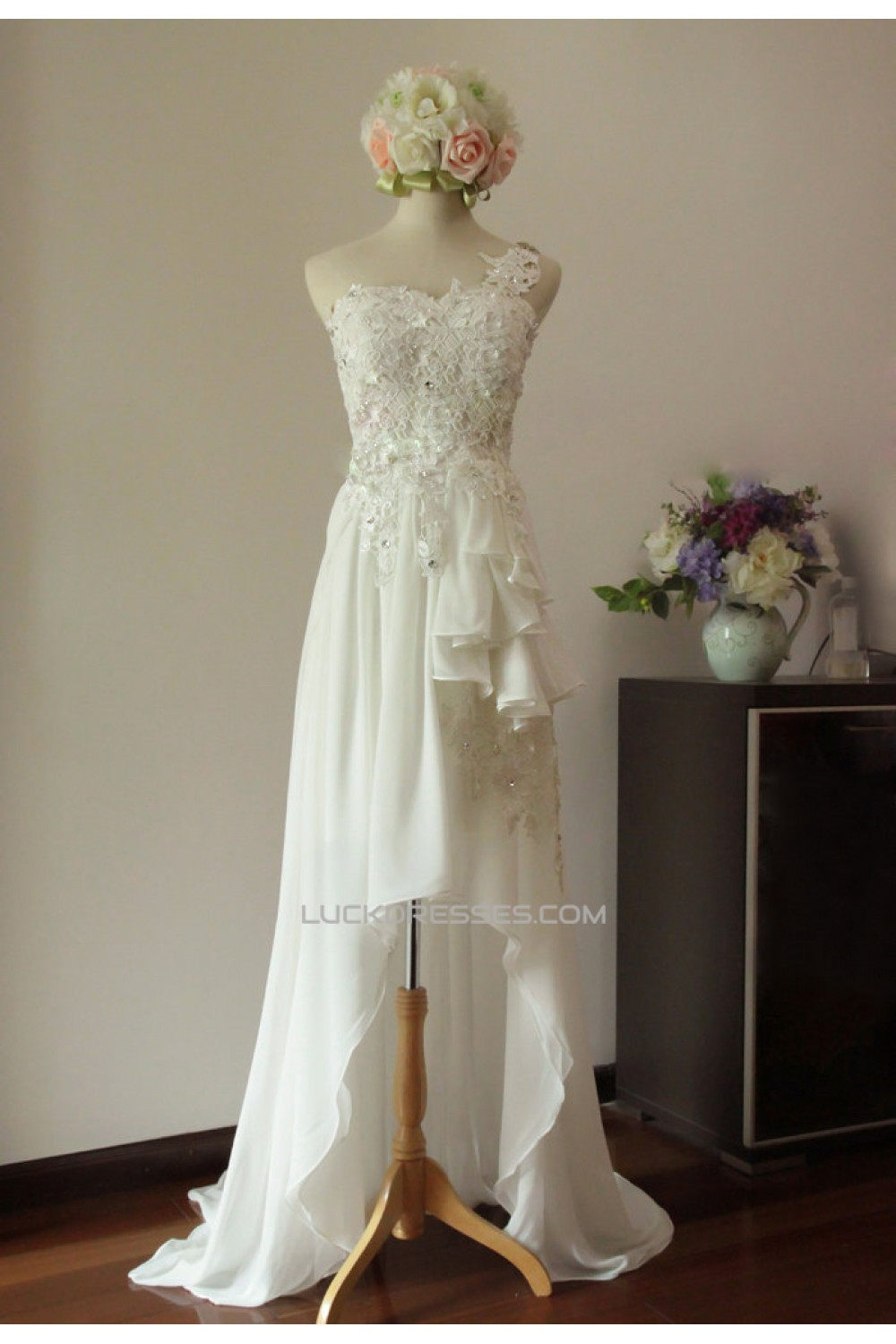 High Low One Shoulder Beaded Lace Chiffon Bridal Gown