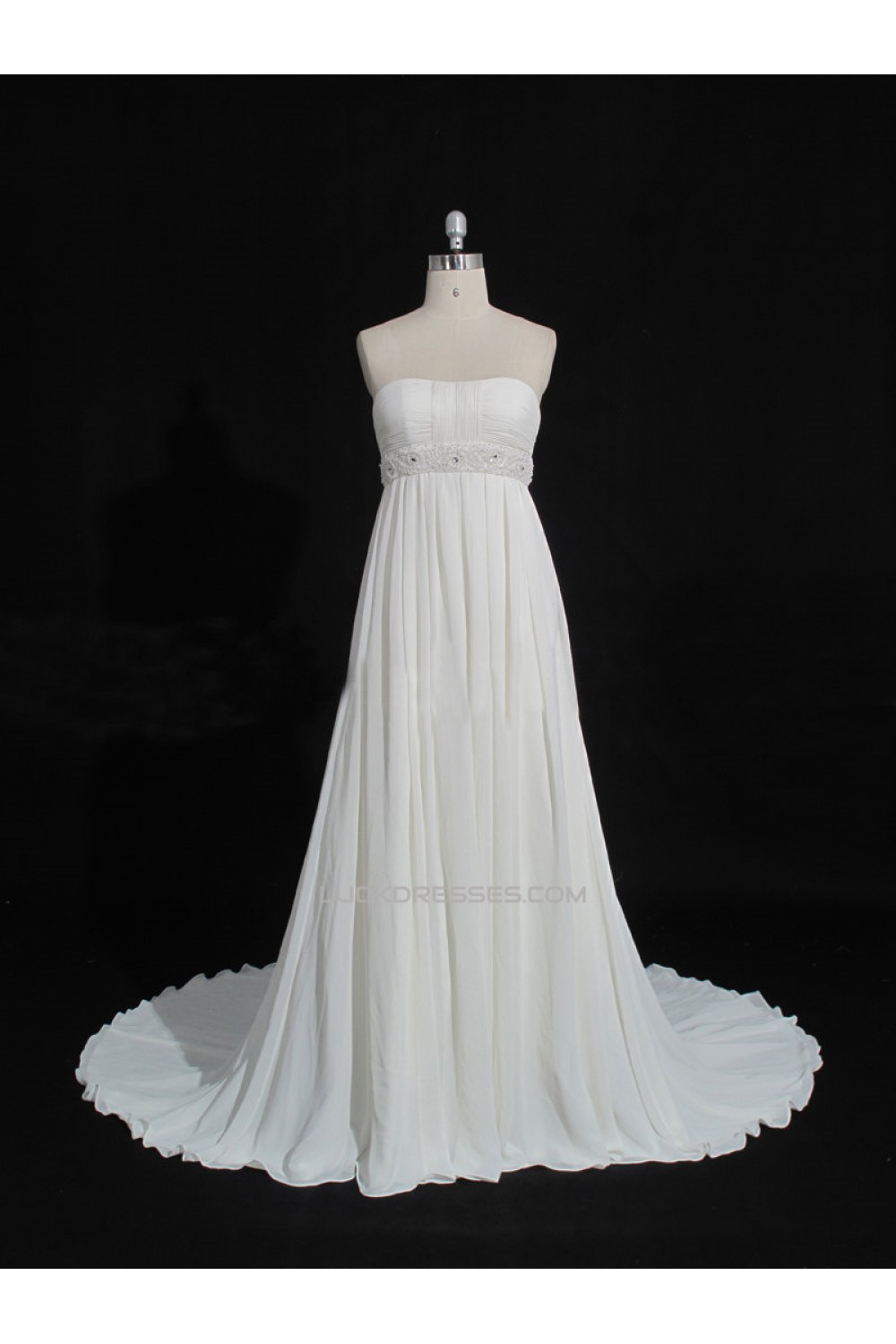 Empire Beaded Chiffon Maternity Bridal Gown Wedding Dress WD010473