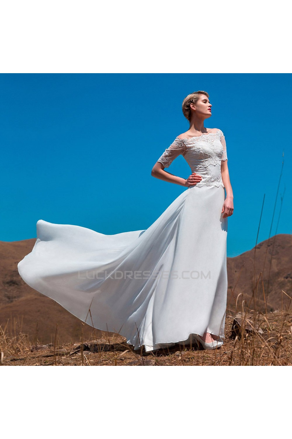 A-line Off the Shoulder Short Sleeves Lace Chiffon Bridal Wedding ...