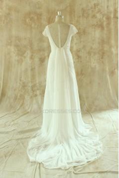 Sheath/Column Beaded Short Sleeves Bridal Wedding Dresses WD010529