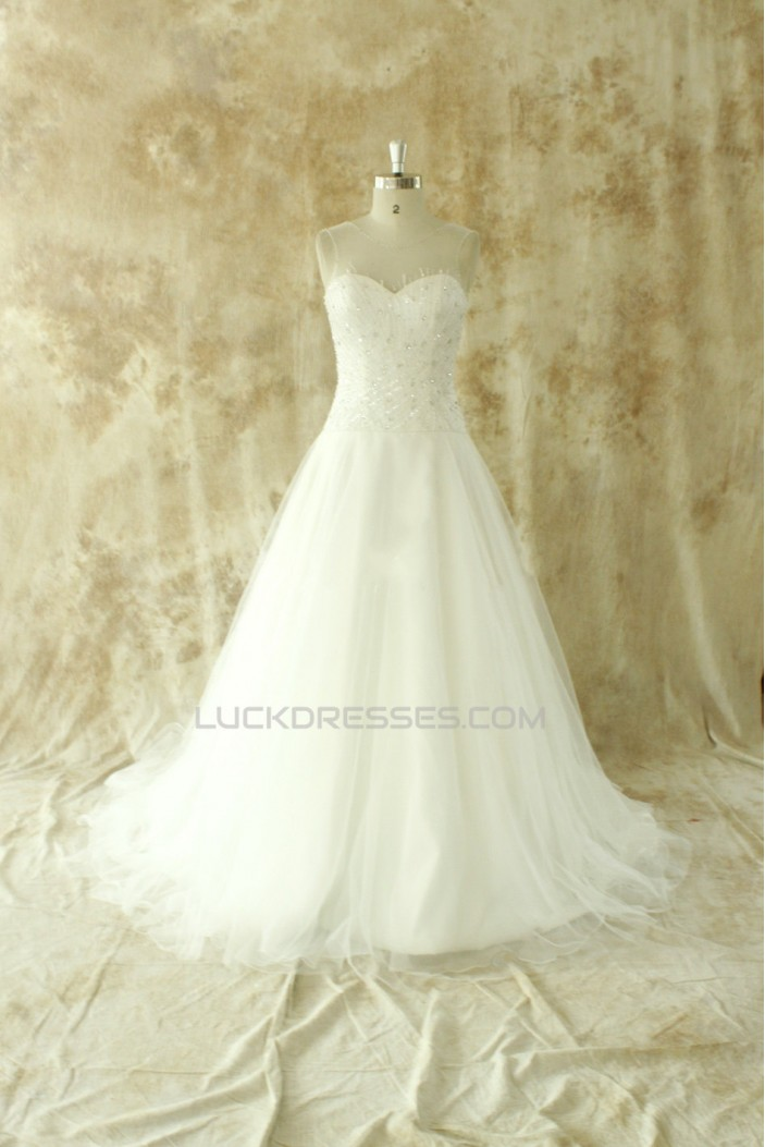 A-line Beaded Bridal Wedding Dresses WD010534
