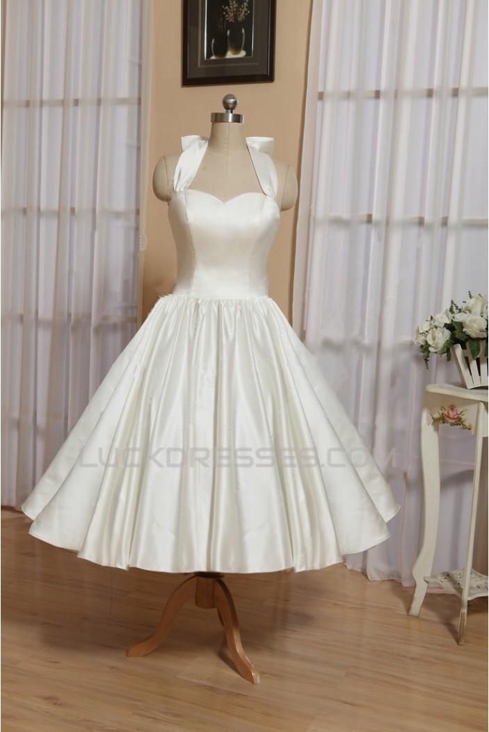 A-line Short Halter Bowknot Bridal Wedding Dresses WD010546