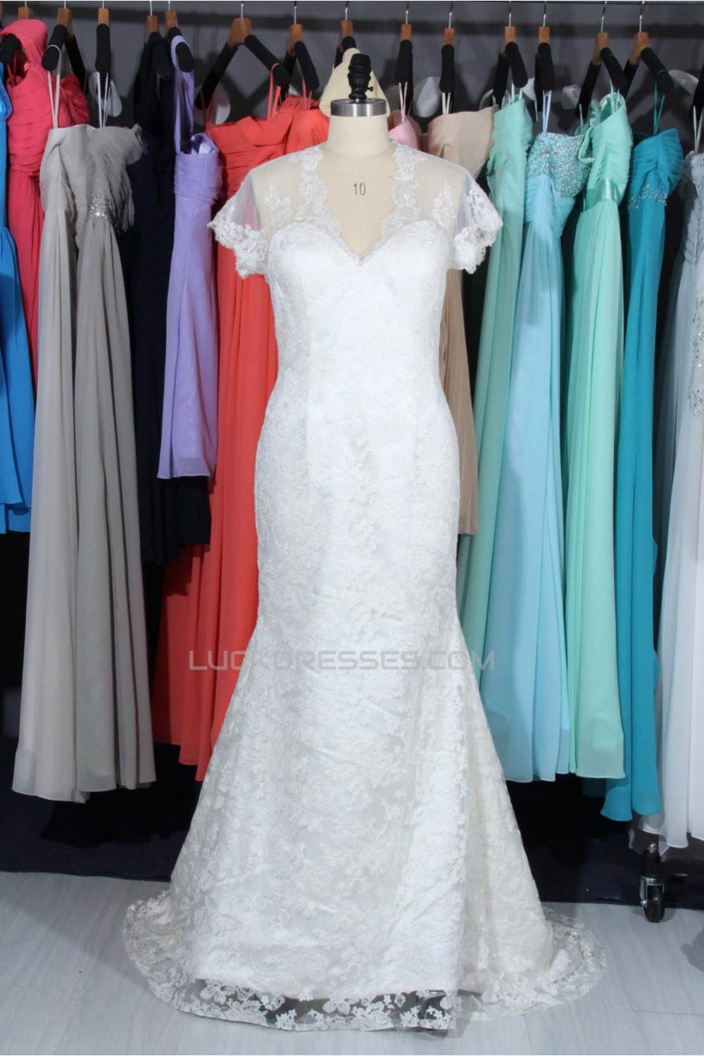 Trumpet/Mermaid V-neck Short Sleeves Lace Bridal Wedding Dresses ...