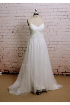 A-line Spaghetti Strap Lace Bridal Wedding Dresses WD010656