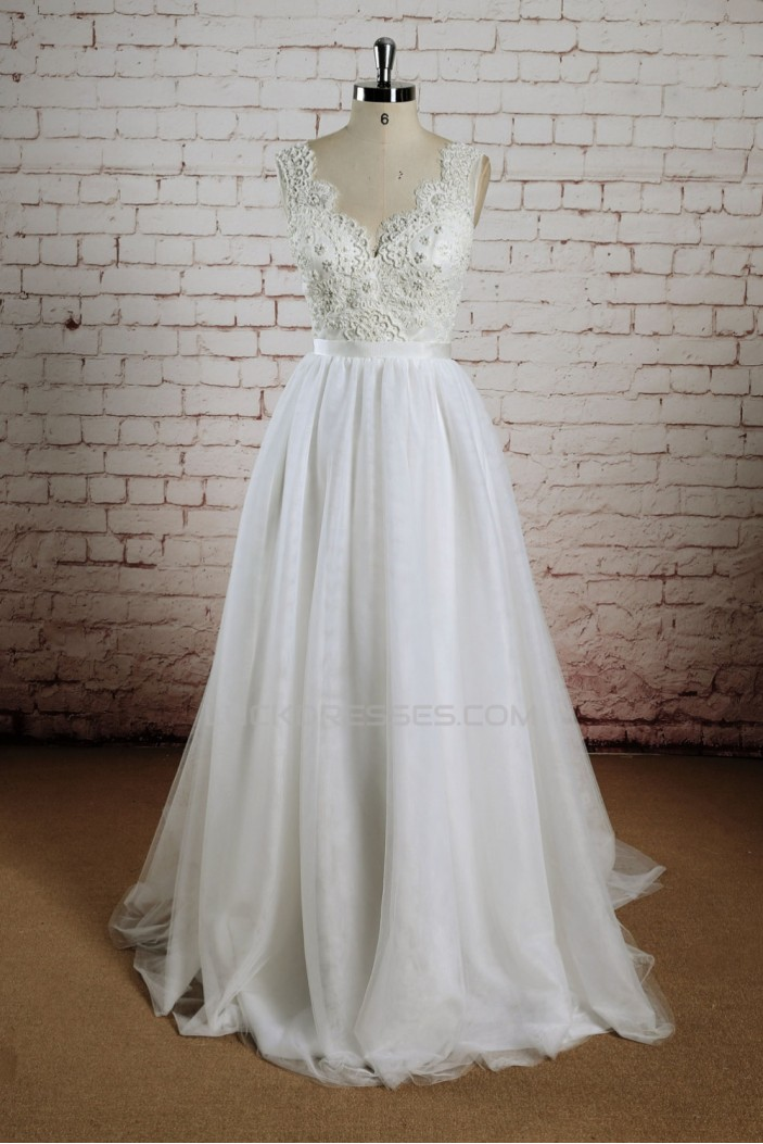 A-line V-neck Lace Bridal Wedding Dresses WD010674