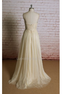A-line Spaghetti Strap Lace Bridal Gown Wedding Dress WD010716