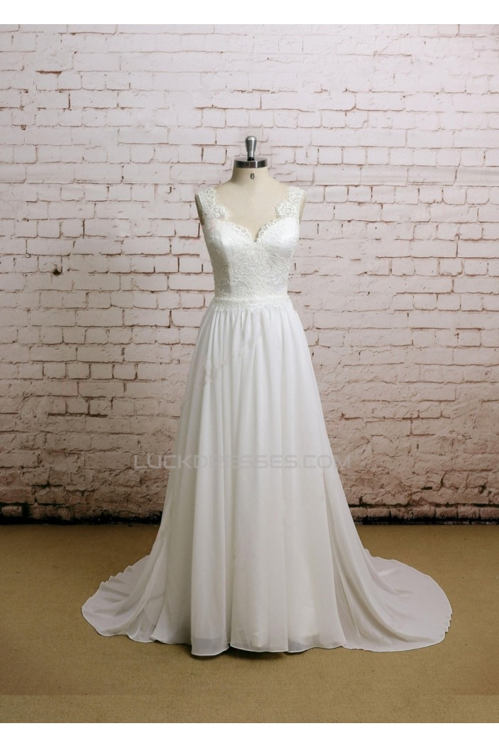 A-line Lace and Chffon Bridal Gown Wedding Dress WD010742