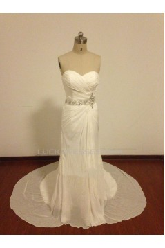 Beaded Chiffon Sweetheart Bridal Wedding Dresses WD010820
