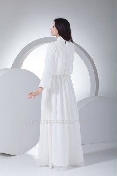 A-Line High-Neck Long Sleeve Chiffon Reception Wedding Dresses 2030007