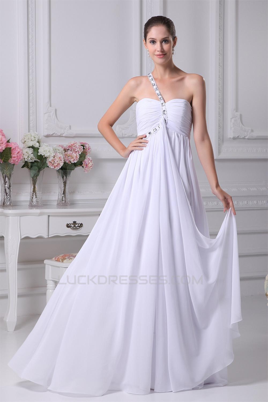Empire One-Shoulder Sleeveless Beaded Chiffon Wedding Dresses ...