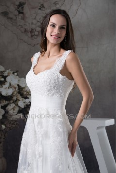 A-Line Sleeveless Straps Beaded Lace New Arrival Wedding Dresses 2030033