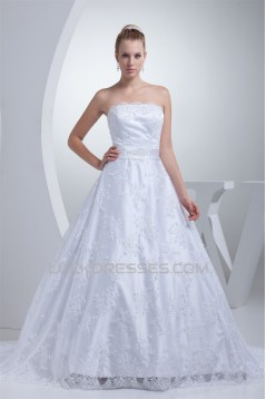 A-Line Strapless Beaded Appliques Lace Wedding Dresses 2030038