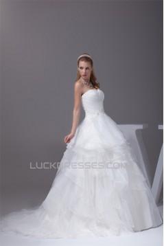 Amazing A-Line Satin Organza Beaded Applique Sweetheart Wedding Dresses 2030055