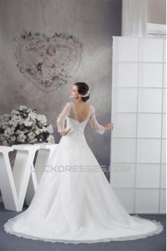 Amazing V-Neck A-Line Long Sleeve Satin Organza Sequins Wedding Dresses 2030060