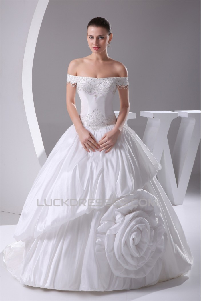 Ball Gown Sleeveless Taffeta Off-the-Shoulder New Arrival Wedding Dresses 2030064