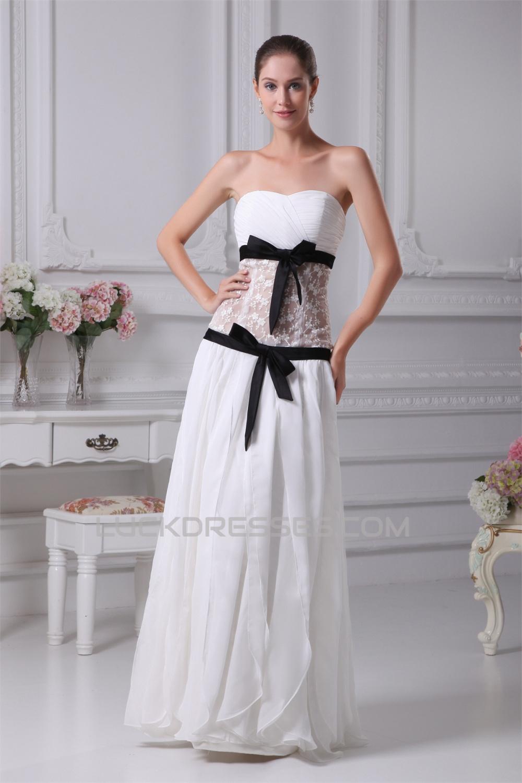 Chiffon Satin Lace Strapless Sheath Column Wedding Dresses