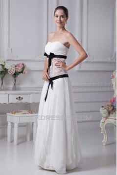 Chiffon Satin Lace Strapless Sheath/Column Wedding Dresses 2030095