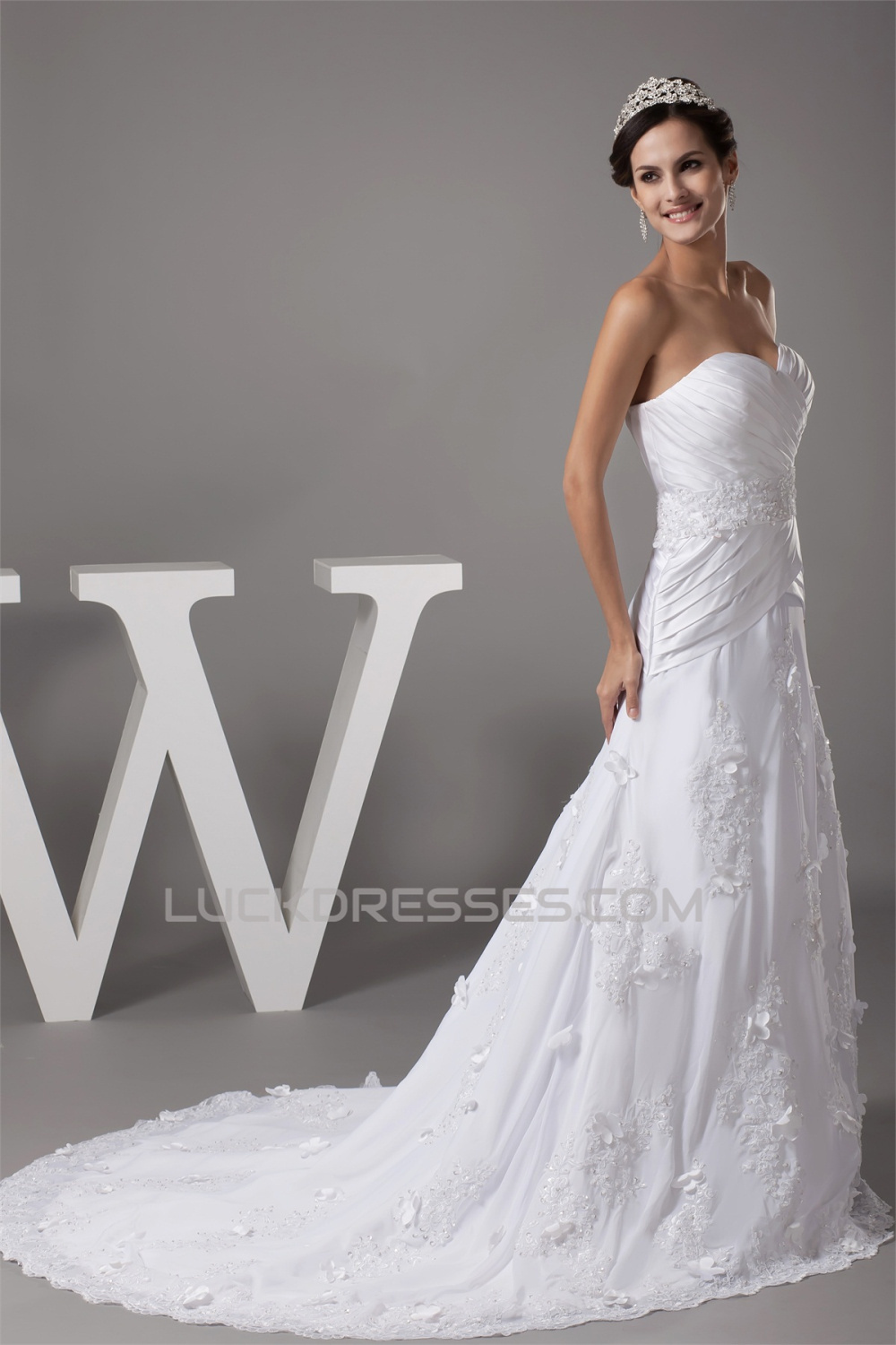 A Line Sweetheart Chiffon Satin Lace Beaded Most Beautiful