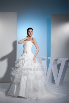 Ball Gown Strapless Chapel Train Wedding Dresses 2030099