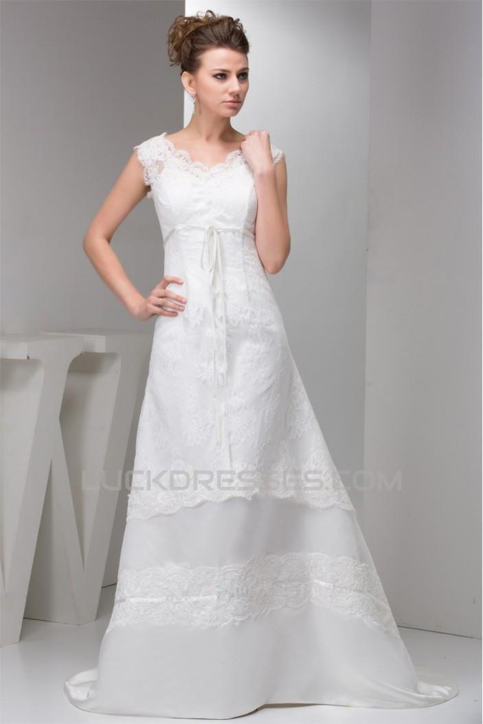 Straps Sleeveless A-Line V-Neck Lace Wedding Dresses 2031011