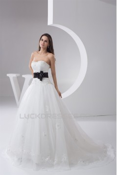 Ball Gown Strapless Court Train Lace Wedding Dresses 2031027