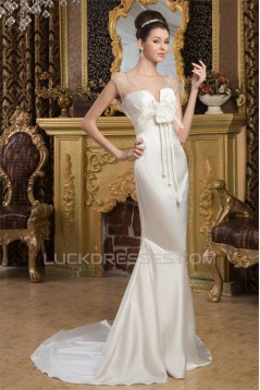 V-Neck Satin Silk like Satin Mermaid/Trumpet Beaded Wedding Dresses 2031049
