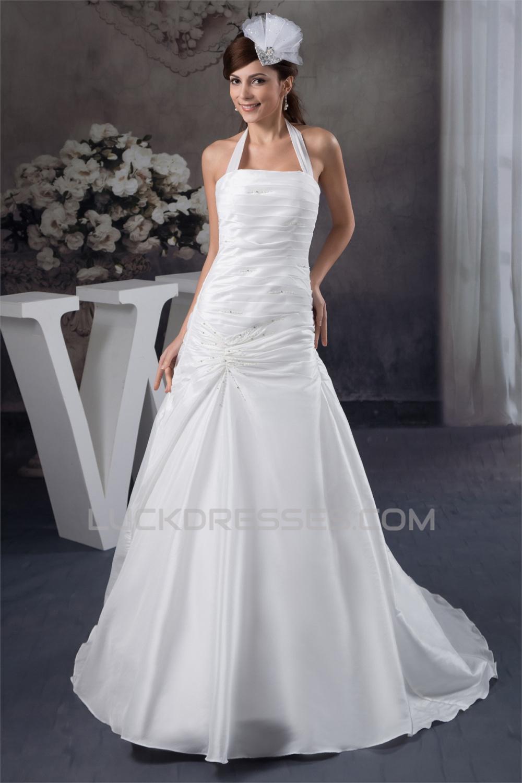 03a22c3d6786 Wonderful A-Line Satin Taffeta Sleeveless Halter Wedding Dresses 2031058