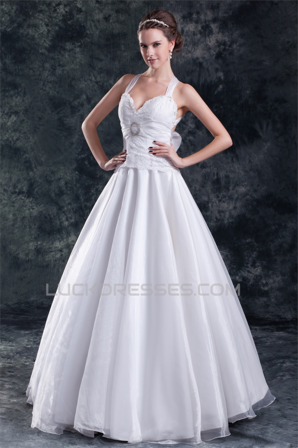 cb34a36199e A-Line Satin Lace Organza Halter Sleeveless Embellished Wedding Dresses  2031080