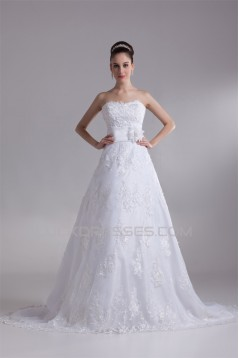 A-Line Sleeveless Sweetheart Satin Lace New Arrival Wedding Dresses 2031087