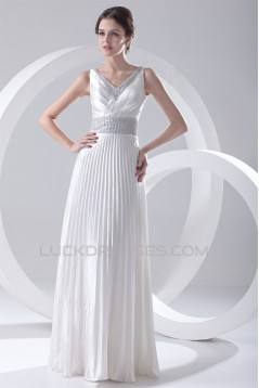 A-Line V-Neck Elastic Woven Satin Floor-Length Beaded Sequin Wedding Dresses 2031099