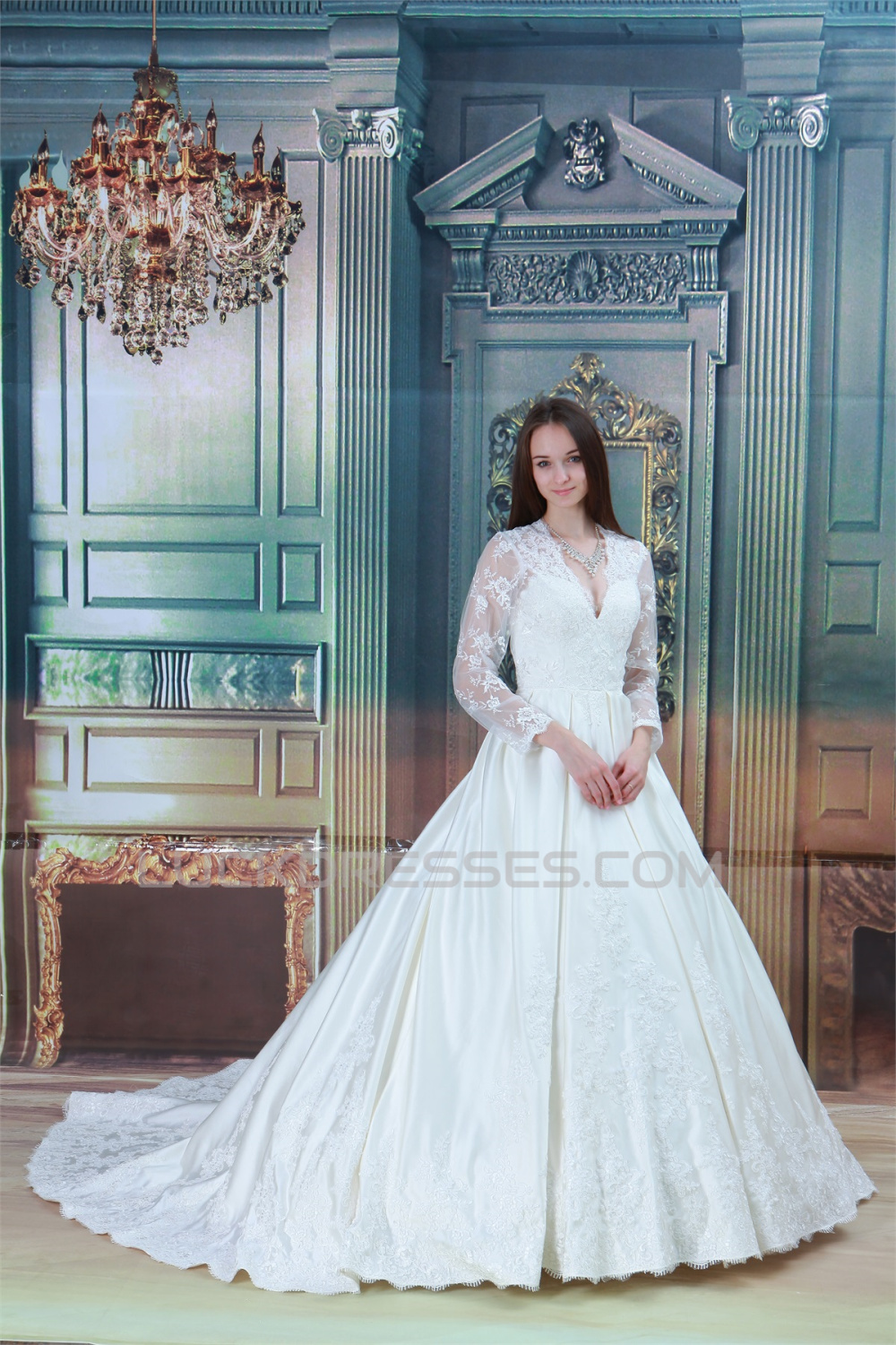 Amazing Ball Gown Long Sleeve Satin Lace V-Neck Wedding Dresses 2031105