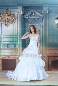 Amazing Ball Gown Straps Satin Sleeveless Beaded Wedding Dresses 2031106