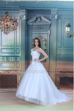 Amazing One-Shoulder Satin Netting A-Line Beaded Wedding Dresses 2031108