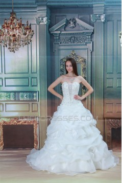 Amazing Satin Lace Ball Gown Sleeveless Strapless Wedding Dresses 2031109