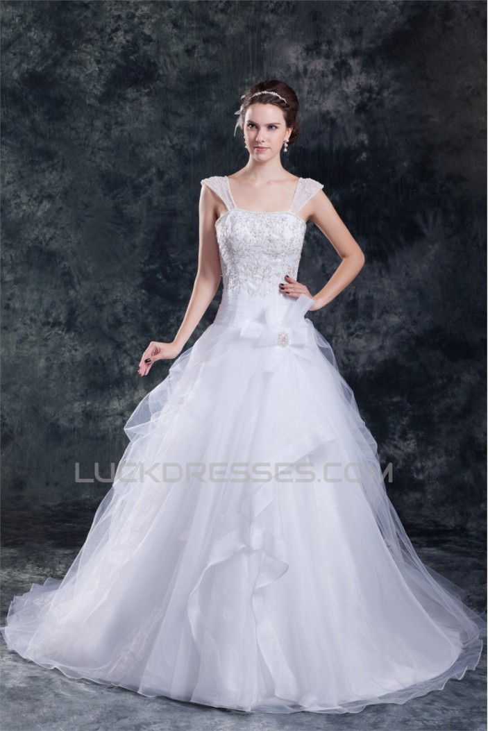 Amazing Satin Organza A-Line Straps Embellished Wedding Dresses 2031110