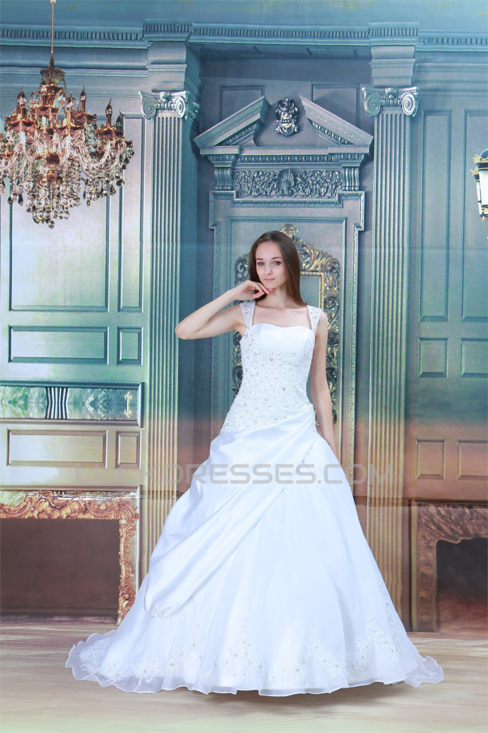 attractive Sleeveless Satin Straps A-Line Most Beautiful Wedding ...