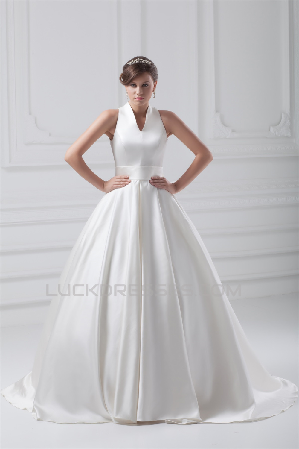 attractive V-Neck Sleeveless Ball Gown Satin Best Wedding Dresses ...
