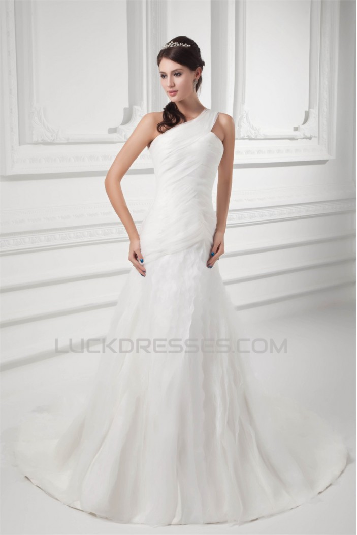 Beautiful Sleeveless One-Shoulder A-Line Satin Organza Wedding Dresses 2031134