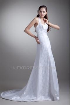 Charming A-Line Satin Lace Halter Sleeveless Sweet Wedding Dresses 2031146