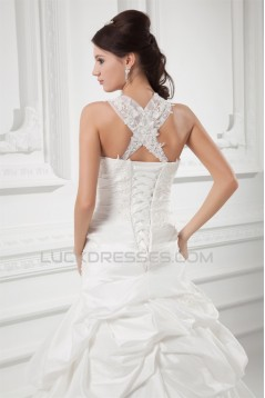 Charming Straps Taffeta Sleeveless A-Line Embellished Wedding Dresses 2031148