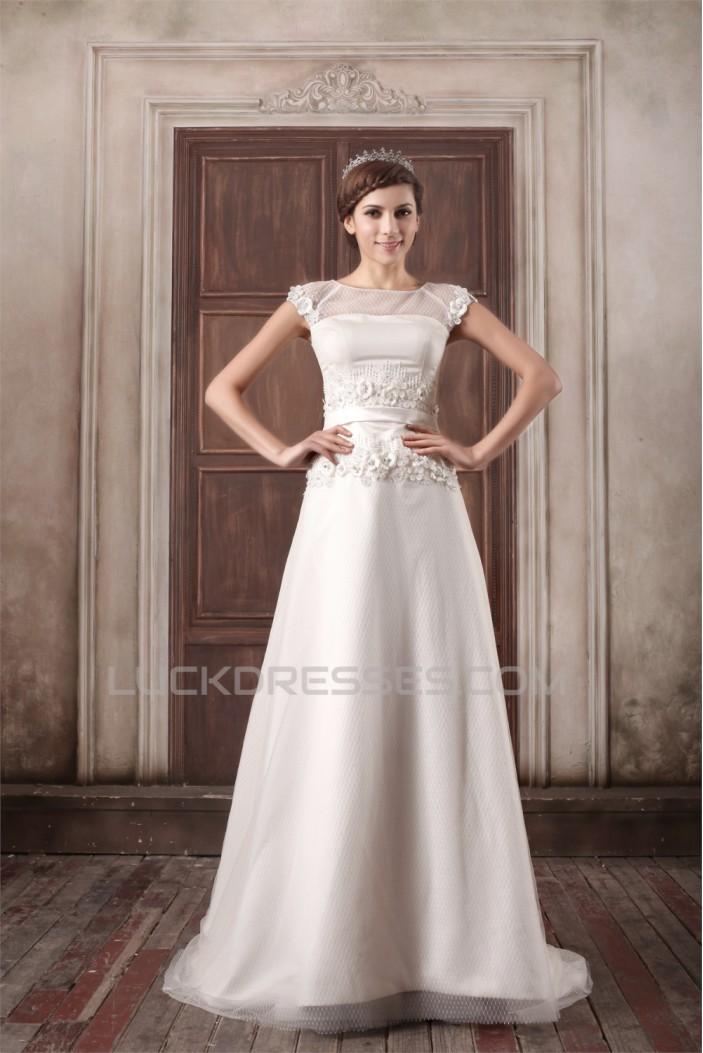 Custom Made A-Line Satin Tulle High-Neck Sweet Wedding Dresses 2031159