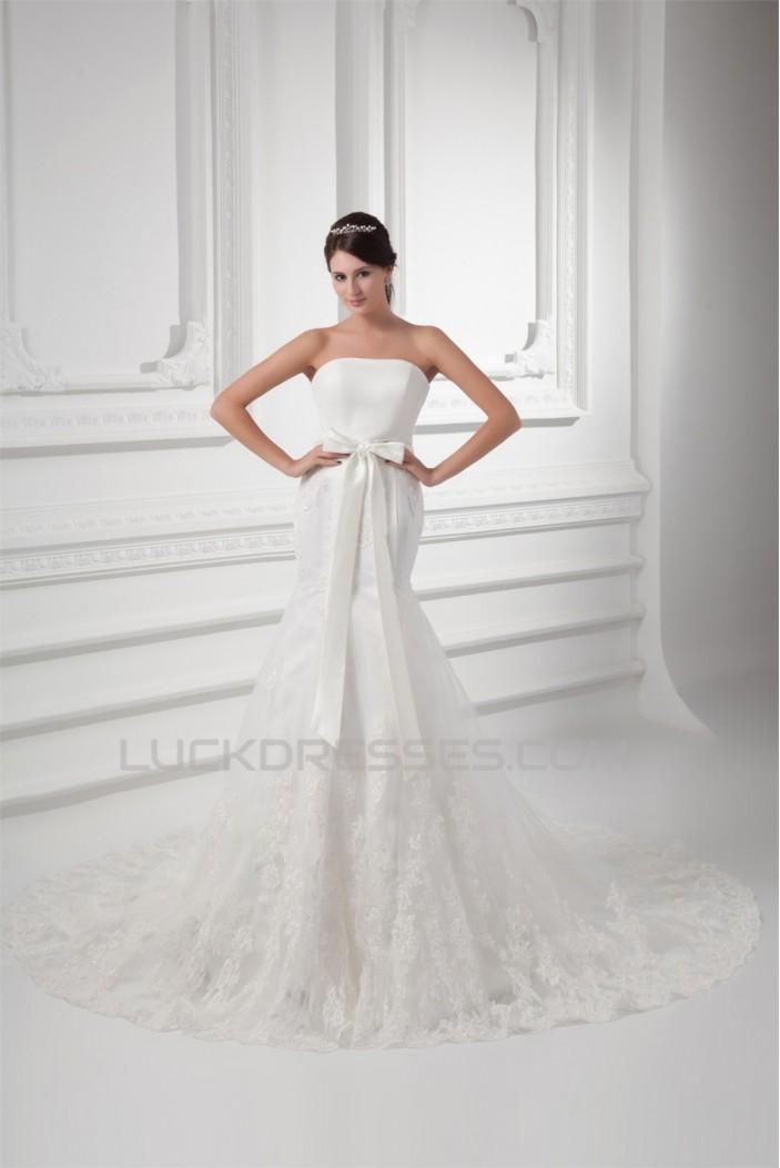Trumpet/Mermaid Sleeveless Satin Fine Netting Strapless Lace Wedding Dresses 2031162