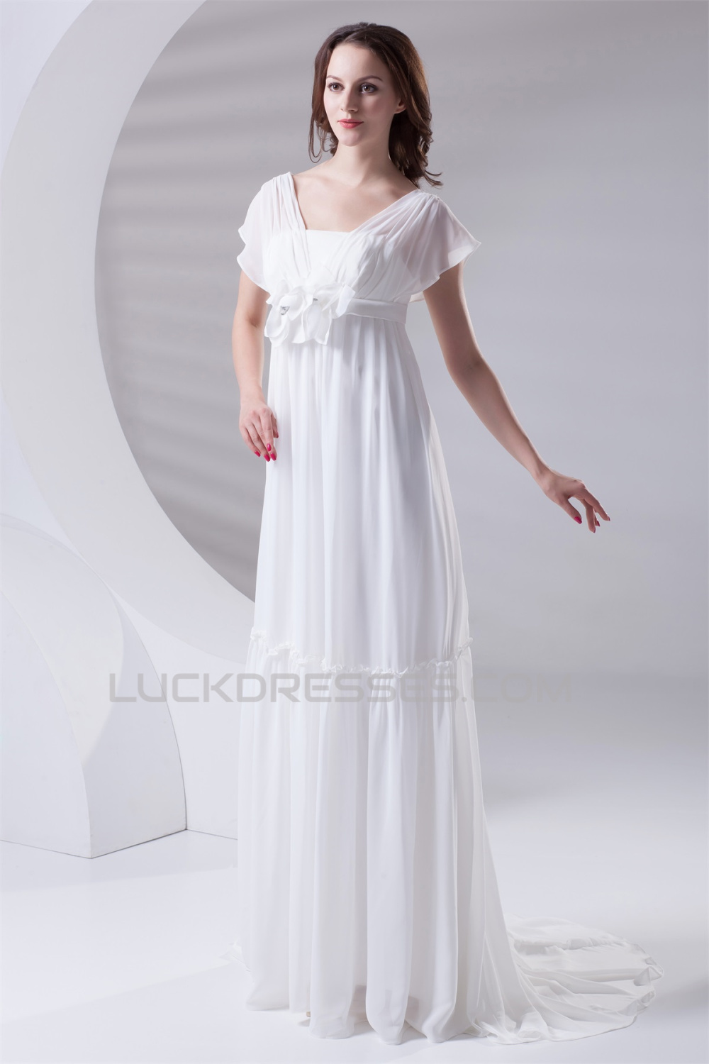 Fantastic Flared Sleeves Strapless A-Line Chiffon Wedding
