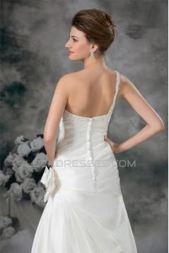 Fantastic One-Shoulder Satin Sleeveless A-Line Wedding Dresses 2031180