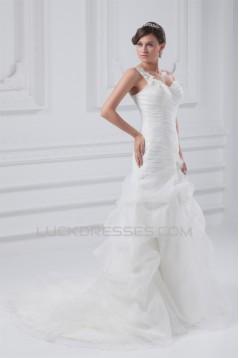 Fantastic Sleeveless A-Line One-Shoulder Satin Organza Wedding Dresses 2031182