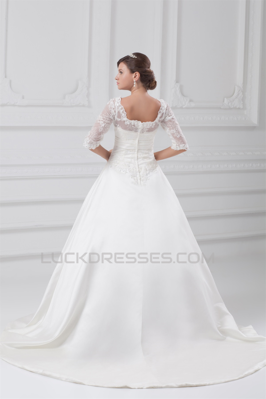 Fantastic V-Neck Satin Lace A-Line Half Elbow Sleeve Wedding Dresses ...