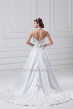 Great Satin A-Line Halter Sleeveless Wedding Dresses 2031215