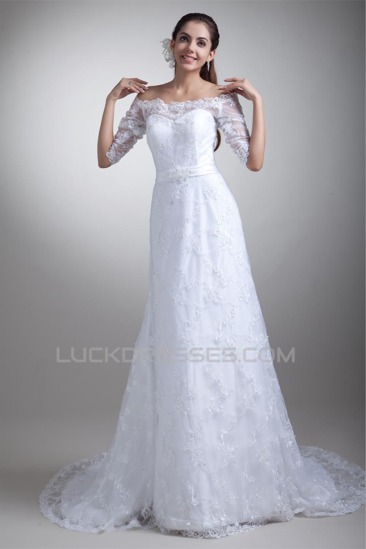 a3ce1730daec1 Half Elbow Sleeve Satin Lace A-Line Off-the-Shoulder Embellished Wedding  Dresses 2031219